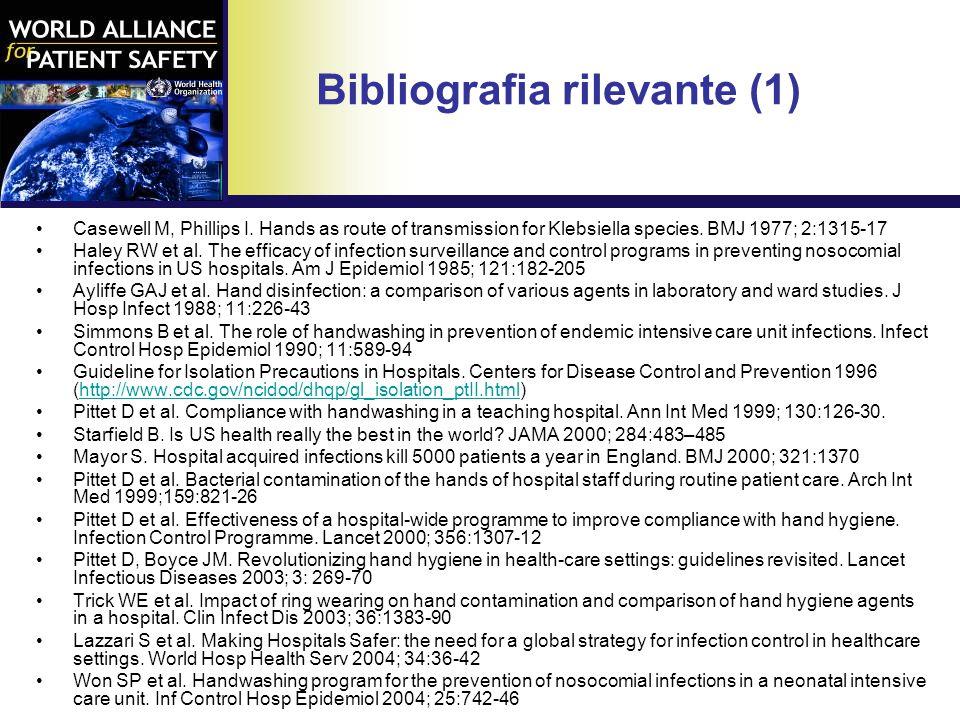 Bibliografia rilevante (1) Casewell M, Phillips I.