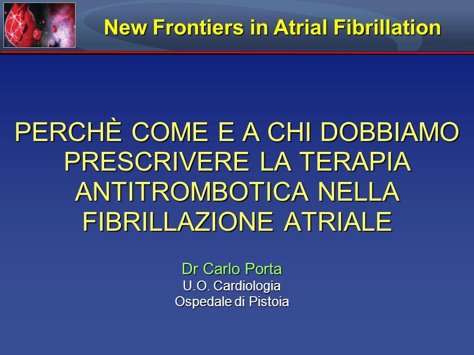 PERCHÈ COME E A CHI DOBBIAMO PRESCRIVERE LA TERAPIA ANTITROMBOTICA NELLA FIBRILLAZIONE ATRIALE Dr Carlo Porta U.O.