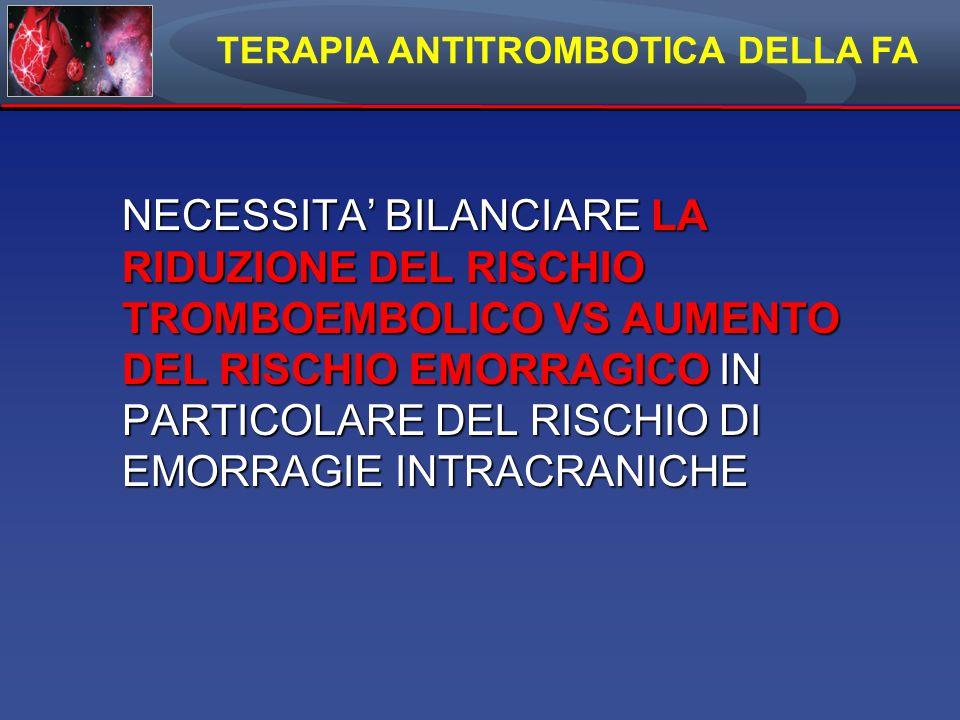 TERAPIA ANTITROMBOTICA DELLA FA NECESSITA' BILANCIARE LA RIDUZIONE DEL RISCHIO TROMBOEMBOLICO VS AUMENTO DEL RISCHIO EMORRAGICO IN PARTICOLARE DEL RISCHIO DI EMORRAGIE INTRACRANICHE