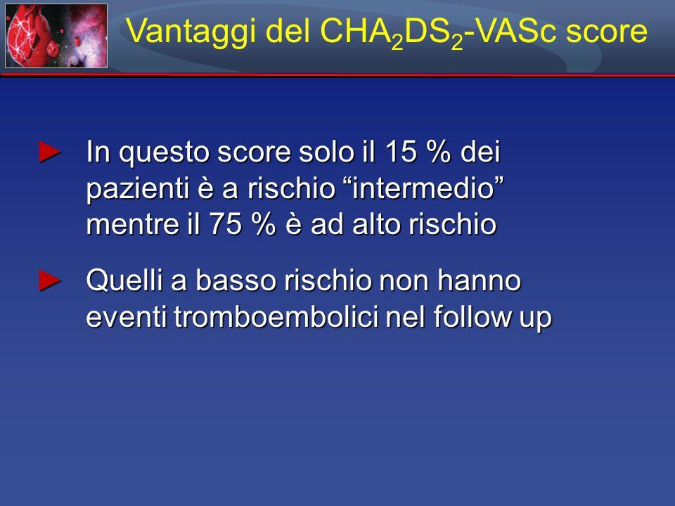 Vantaggi del CHA 2 DS 2 -VASc score ► In questo score solo il 15 % dei pazienti è a rischio intermedio mentre il 75 % è ad alto rischio ► Quelli a basso rischio non hanno eventi tromboembolici nel follow up