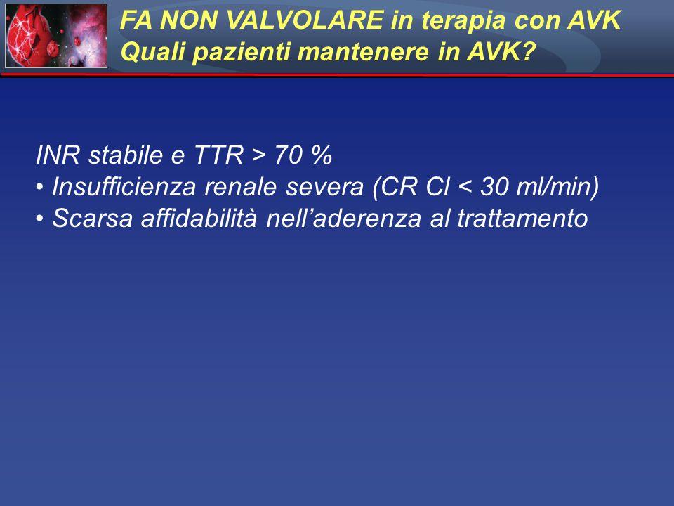 INR stabile e TTR > 70 % Insufficienza renale severa (CR Cl < 30 ml/min) Scarsa affidabilità nell'aderenza al trattamento FA NON VALVOLARE in terapia con AVK Quali pazienti mantenere in AVK?