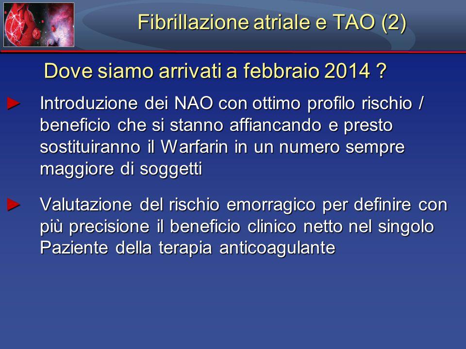 Fibrillazione atriale e TAO (2) Dove siamo arrivati a febbraio 2014 .