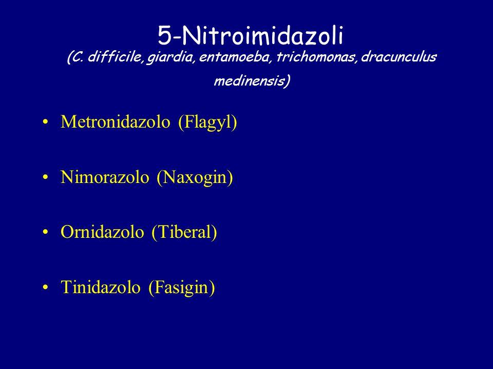 5-Nitroimidazoli (C. difficile, giardia, entamoeba, trichomonas, dracunculus medinensis) Metronidazolo (Flagyl) Nimorazolo (Naxogin) Ornidazolo (Tiber