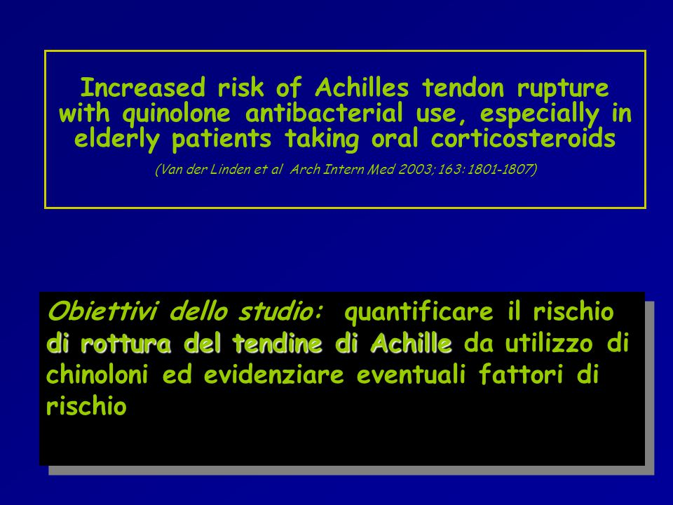 Increased risk of Achilles tendon rupture with quinolone antibacterial use, especially in elderly patients taking oral corticosteroids (Van der Linden