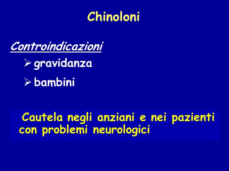 Cautela negli anziani e nei pazienti con problemi neurologici Controindicazioni Chinoloni  gravidanza  bambini