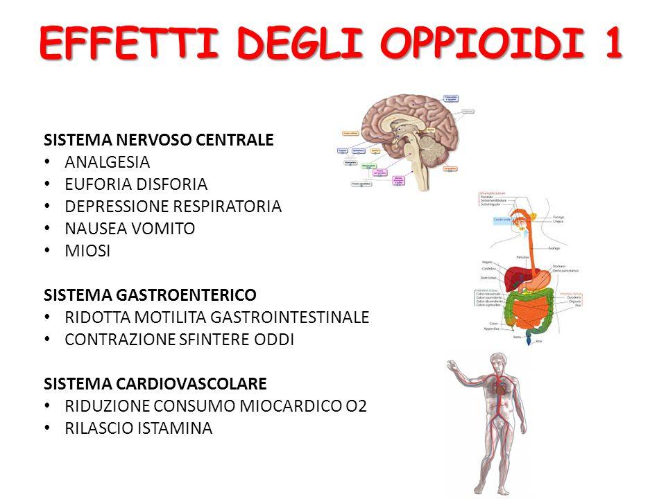 EFFETTI DEGLI OPPIOIDI 1 SISTEMA NERVOSO CENTRALE ANALGESIA EUFORIA DISFORIA DEPRESSIONE RESPIRATORIA NAUSEA VOMITO MIOSI SISTEMA GASTROENTERICO RIDOTTA MOTILITA GASTROINTESTINALE CONTRAZIONE SFINTERE ODDI SISTEMA CARDIOVASCOLARE RIDUZIONE CONSUMO MIOCARDICO O2 RILASCIO ISTAMINA