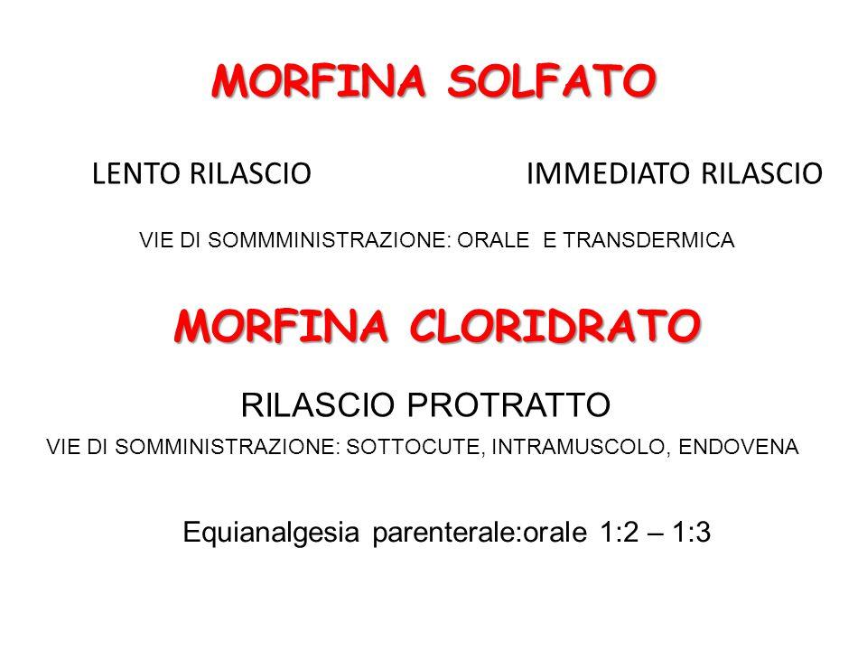 MORFINA SOLFATO LENTO RILASCIOIMMEDIATO RILASCIO VIE DI SOMMMINISTRAZIONE: ORALE E TRANSDERMICA MORFINA CLORIDRATO RILASCIO PROTRATTO VIE DI SOMMINISTRAZIONE: SOTTOCUTE, INTRAMUSCOLO, ENDOVENA Equianalgesia parenterale:orale 1:2 – 1:3