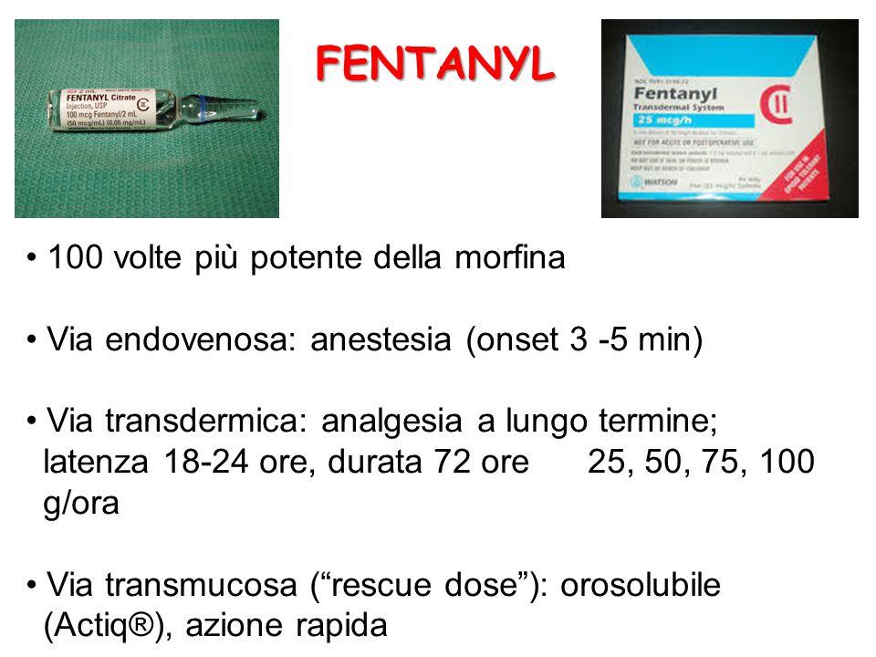 100 volte più potente della morfina Via endovenosa: anestesia (onset 3 -5 min) Via transdermica: analgesia a lungo termine; latenza 18-24 ore, durata 72 ore 25, 50, 75, 100 g/ora Via transmucosa ( rescue dose ): orosolubile (Actiq®), azione rapida FENTANYL