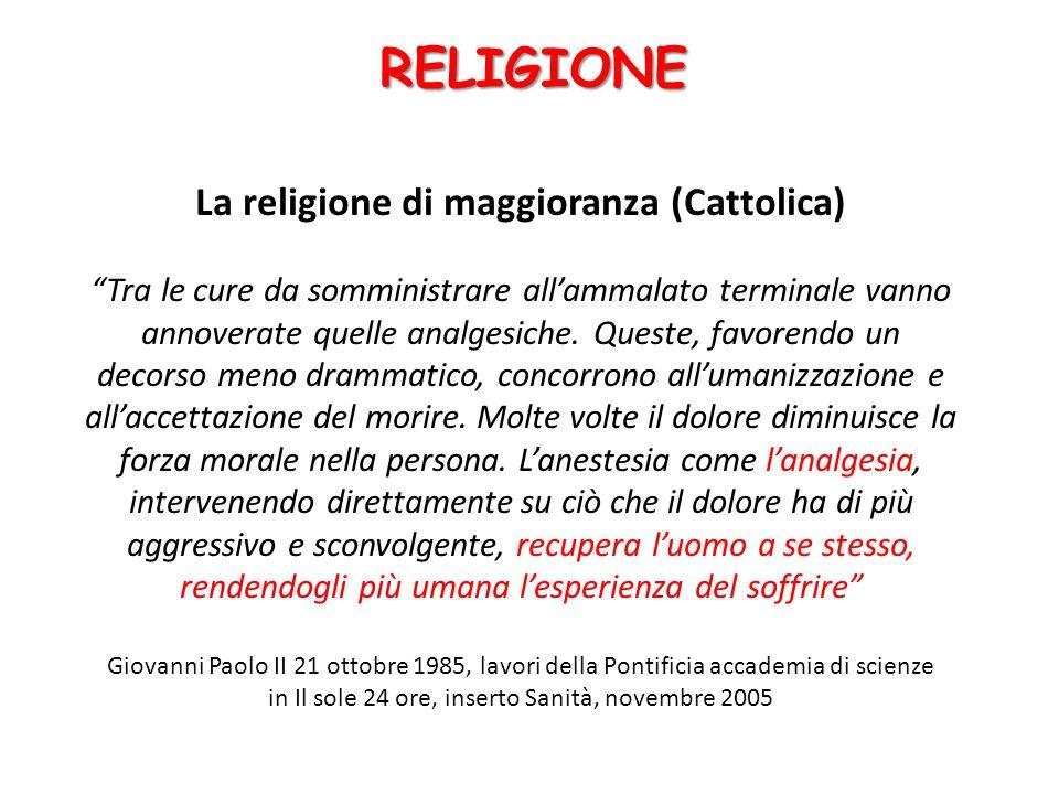 La religione di maggioranza (Cattolica) Tra le cure da somministrare all'ammalato terminale vanno annoverate quelle analgesiche.
