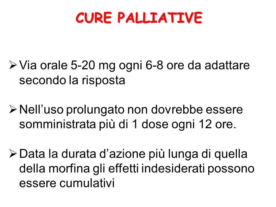  Via orale 5-20 mg ogni 6-8 ore da adattare secondo la risposta  Nell'uso prolungato non dovrebbe essere somministrata più di 1 dose ogni 12 ore.