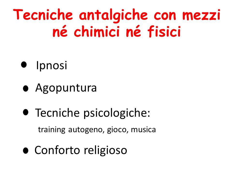 Tecniche psicologiche: training autogeno, gioco, musica Ipnosi Agopuntura Tecniche antalgiche con mezzi né chimici né fisici Conforto religioso
