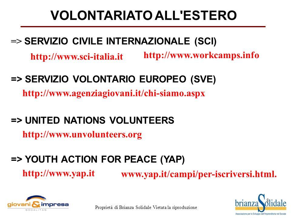8 Proprietà di Brianza Solidale Vietata la riproduzione VOLONTARIATO ALL'ESTERO http://www.sci-italia.it http://www.workcamps.info => SERVIZIO CIVILE