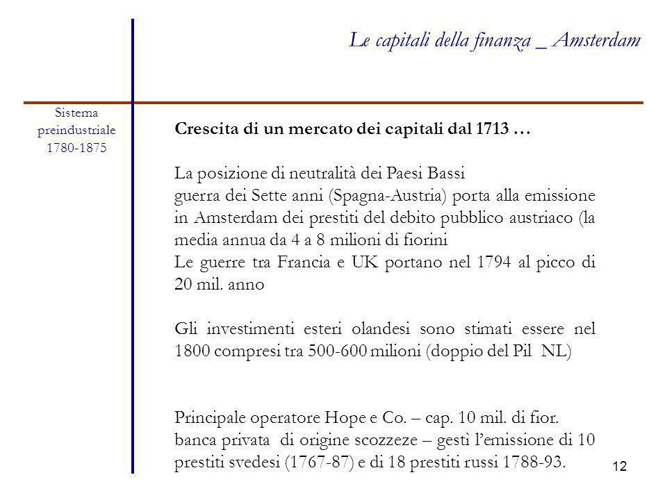 12 Sistema preindustriale 1780-1875 Le capitali della finanza _ Amsterdam Crescita di un mercato dei capitali dal 1713 … La posizione di neutralità de