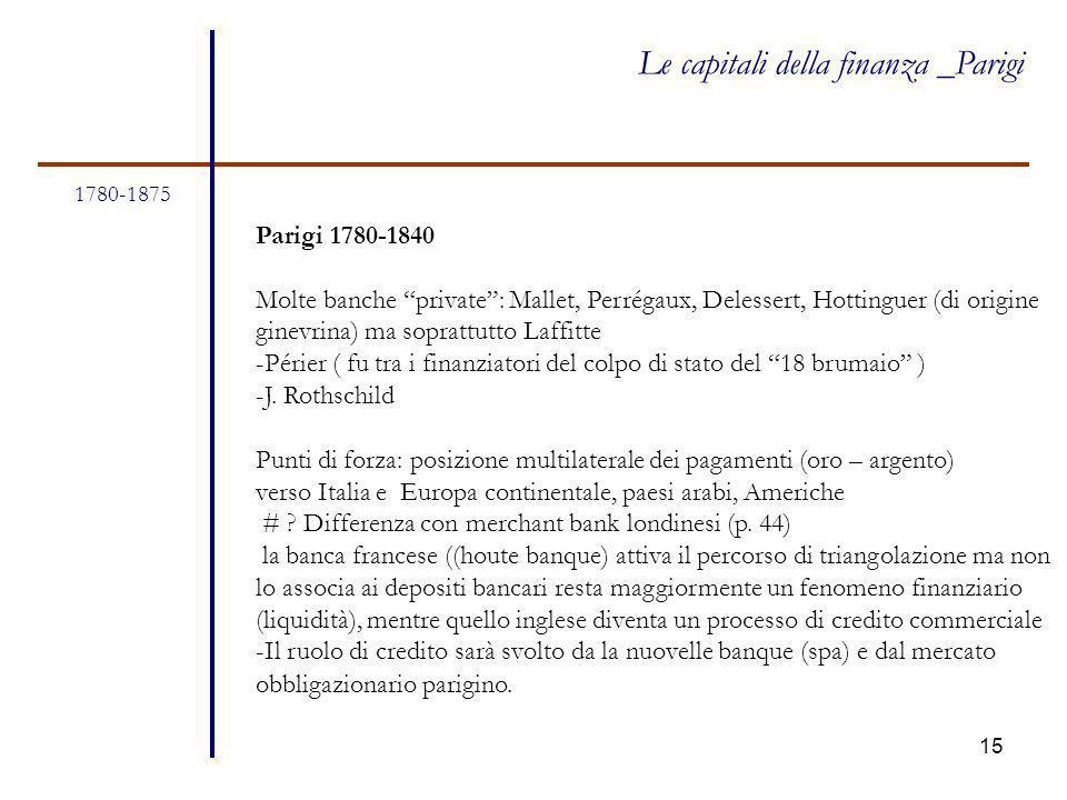"""15 1780-1875 Le capitali della finanza _Parigi Parigi 1780-1840 Molte banche """"private"""": Mallet, Perrégaux, Delessert, Hottinguer (di origine ginevrina"""
