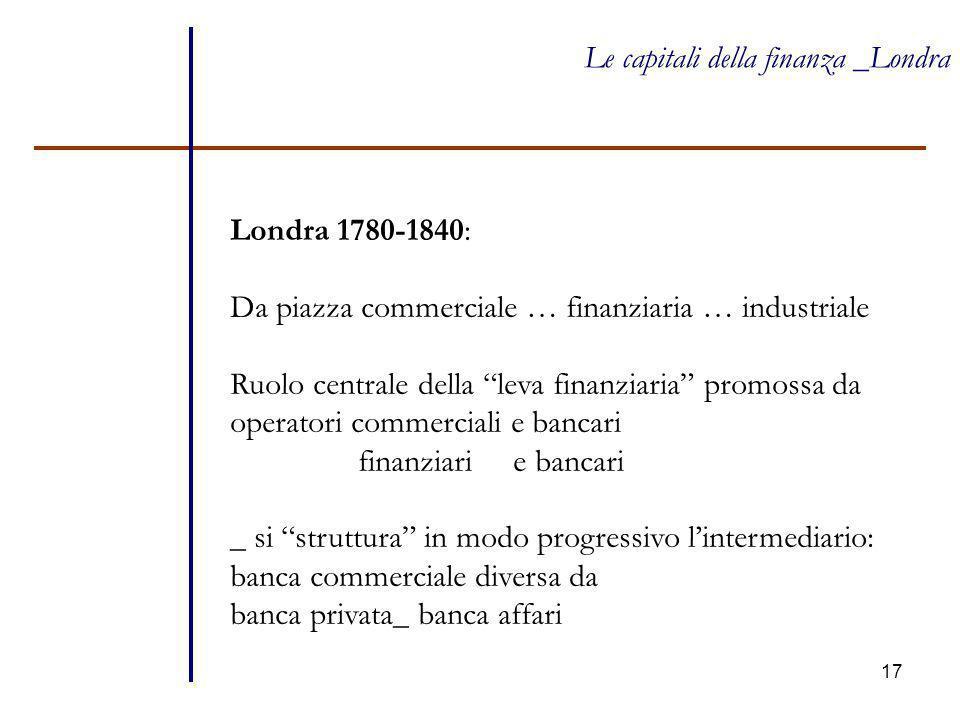 """17 Le capitali della finanza _Londra Londra 1780-1840: Da piazza commerciale … finanziaria … industriale Ruolo centrale della """"leva finanziaria"""" promo"""