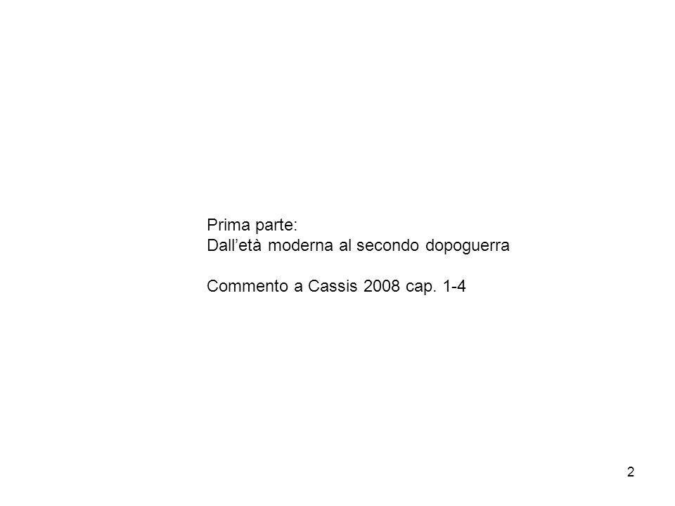 2 Prima parte: Dall'età moderna al secondo dopoguerra Commento a Cassis 2008 cap. 1-4