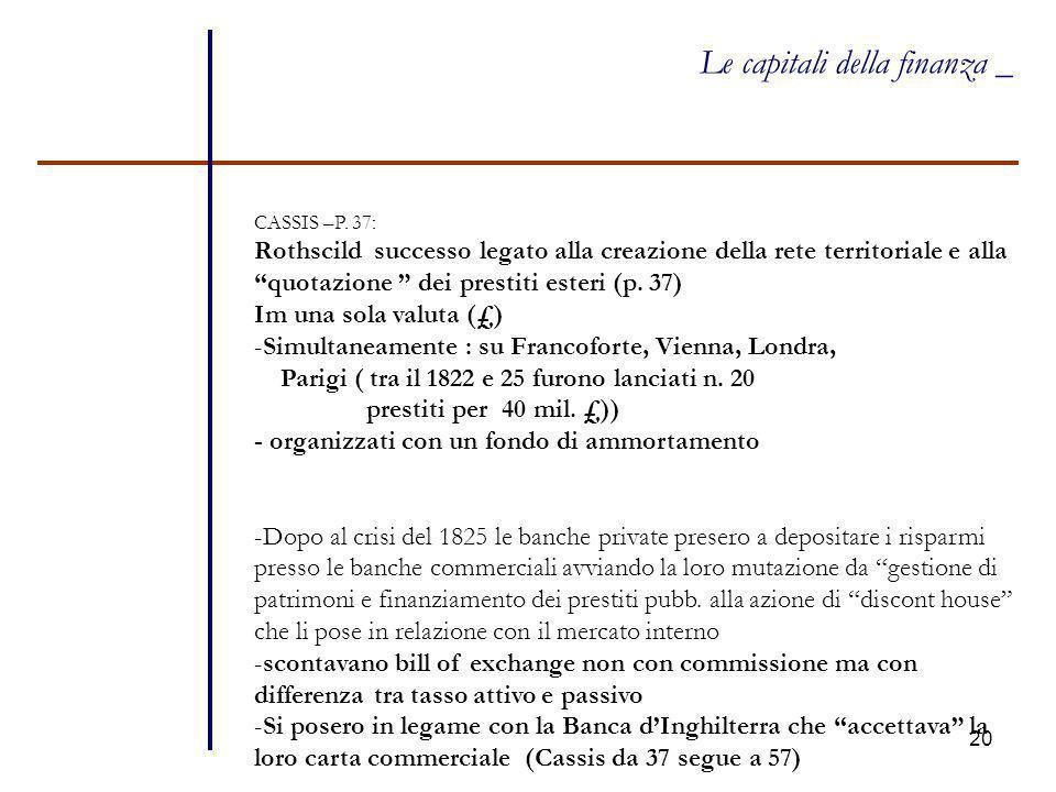 """20 Le capitali della finanza _ CASSIS –P. 37: Rothscild successo legato alla creazione della rete territoriale e alla """"quotazione """" dei prestiti ester"""