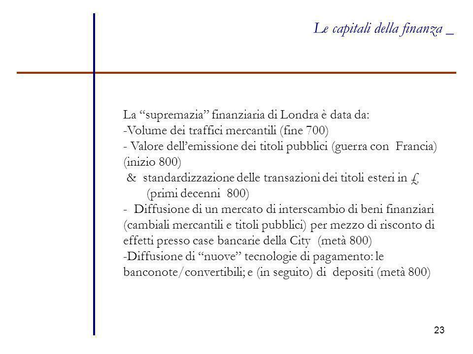 """23 Le capitali della finanza _ La """"supremazia"""" finanziaria di Londra è data da: -Volume dei traffici mercantili (fine 700) - Valore dell'emissione dei"""