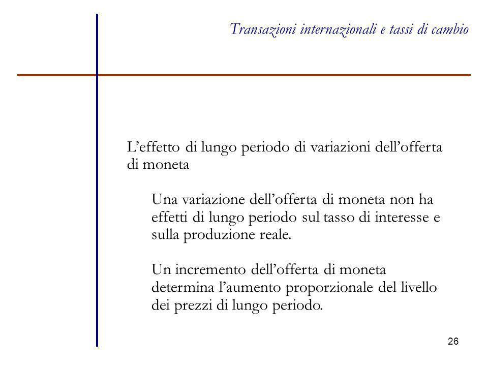 26 Transazioni internazionali e tassi di cambio L'effetto di lungo periodo di variazioni dell'offerta di moneta Una variazione dell'offerta di moneta