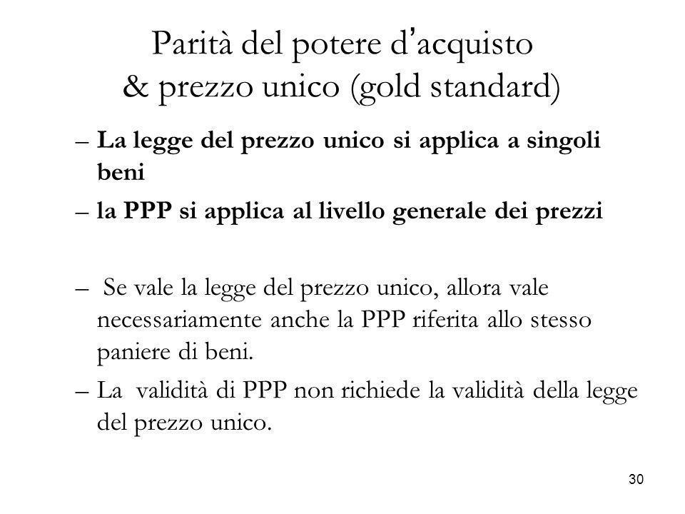 –La legge del prezzo unico si applica a singoli beni –la PPP si applica al livello generale dei prezzi – Se vale la legge del prezzo unico, allora val