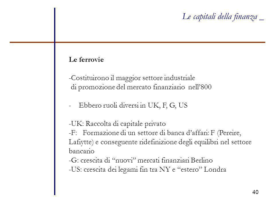 40 Le capitali della finanza _ Le ferrovie -Costituirono il maggior settore industriale di promozione del mercato finanziario nell'800 - Ebbero ruoli
