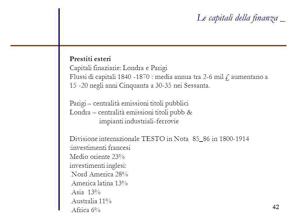 42 Le capitali della finanza _ Prestiti esteri Capitali finaziarie: Londra e Parigi Flussi di capitali 1840 -1870 : media annua tra 2-6 mil £ aumentan