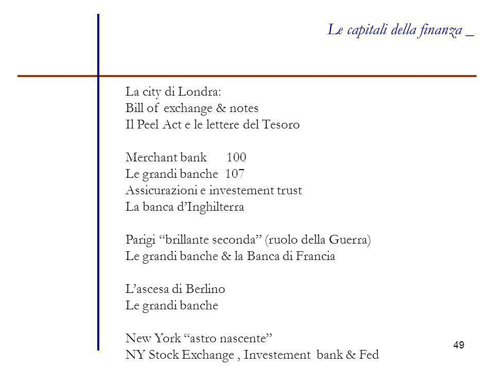 49 Le capitali della finanza _ La city di Londra: Bill of exchange & notes Il Peel Act e le lettere del Tesoro Merchant bank 100 Le grandi banche 107 Assicurazioni e investement trust La banca d'Inghilterra Parigi brillante seconda (ruolo della Guerra) Le grandi banche & la Banca di Francia L'ascesa di Berlino Le grandi banche New York astro nascente NY Stock Exchange, Investement bank & Fed