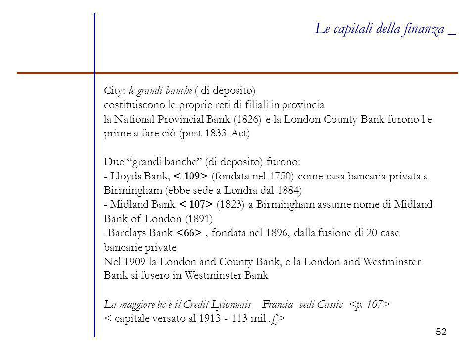 52 Le capitali della finanza _ City: le grandi banche ( di deposito) costituiscono le proprie reti di filiali in provincia la National Provincial Bank