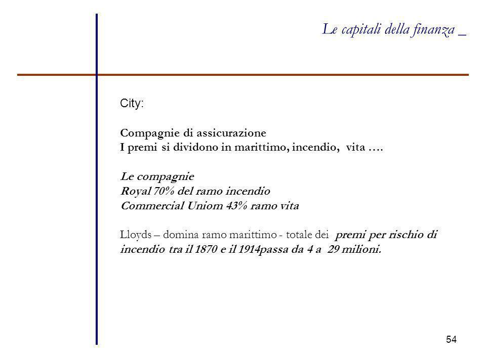 54 Le capitali della finanza _ City: Compagnie di assicurazione I premi si dividono in marittimo, incendio, vita …. Le compagnie Royal 70% del ramo in