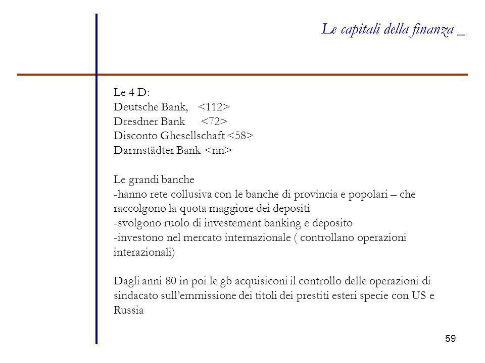 59 Le capitali della finanza _ Le 4 D: Deutsche Bank, Dresdner Bank Disconto Ghesellschaft Darmstädter Bank Le grandi banche -hanno rete collusiva con
