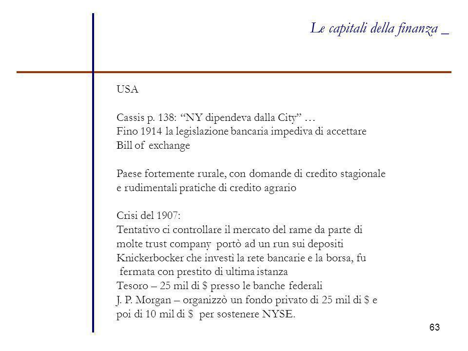 """63 Le capitali della finanza _ USA Cassis p. 138: """"NY dipendeva dalla City"""" … Fino 1914 la legislazione bancaria impediva di accettare Bill of exchang"""