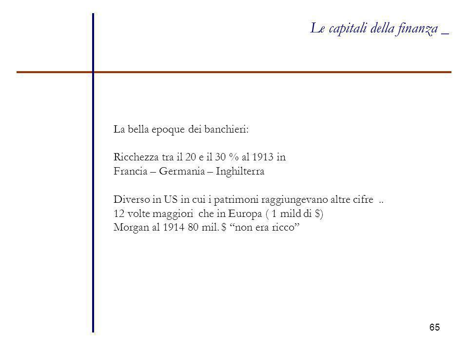 65 Le capitali della finanza _ La bella epoque dei banchieri: Ricchezza tra il 20 e il 30 % al 1913 in Francia – Germania – Inghilterra Diverso in US