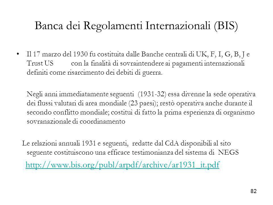Banca dei Regolamenti Internazionali (BIS) Il 17 marzo del 1930 fu costituita dalle Banche centrali di UK, F, I, G, B, J e Trust US con la finalità di