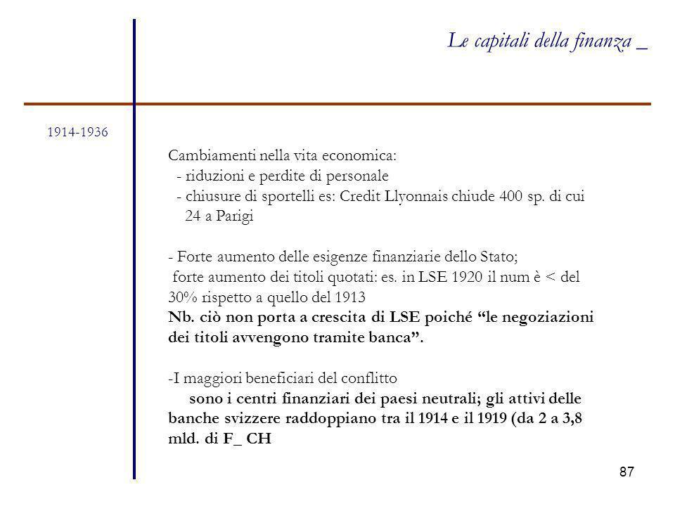 87 1914-1936 Le capitali della finanza _ Cambiamenti nella vita economica: - riduzioni e perdite di personale - chiusure di sportelli es: Credit Llyon