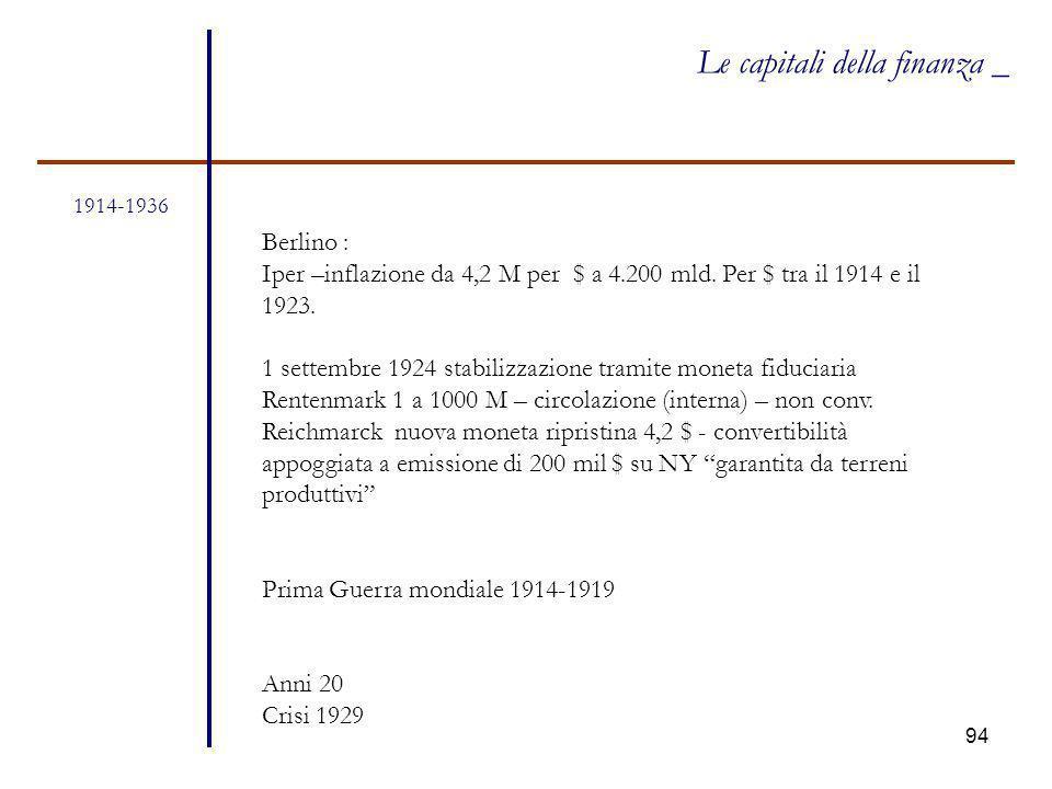 94 1914-1936 Le capitali della finanza _ Berlino : Iper –inflazione da 4,2 M per $ a 4.200 mld. Per $ tra il 1914 e il 1923. 1 settembre 1924 stabiliz