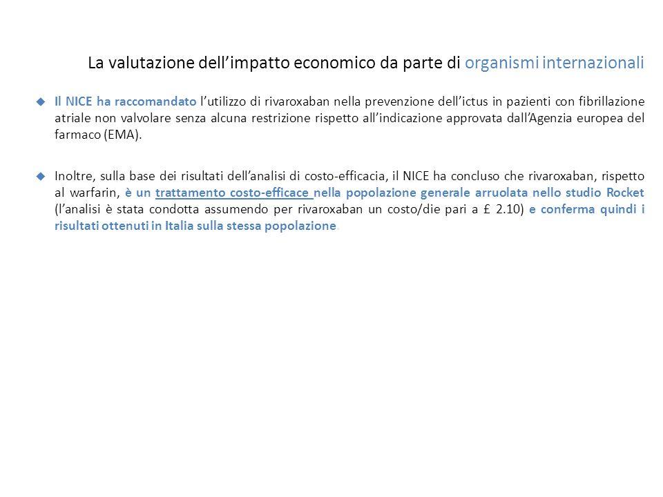 La valutazione dell'impatto economico da parte di organismi internazionali  Il NICE ha raccomandato l'utilizzo di rivaroxaban nella prevenzione dell'