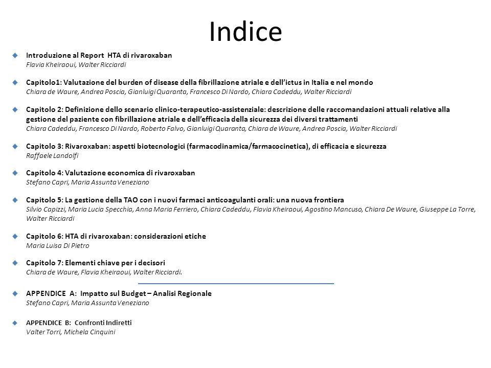 Indice  Introduzione al Report HTA di rivaroxaban Flavia Kheiraoui, Walter Ricciardi  Capitolo1: Valutazione del burden of disease della fibrillazio