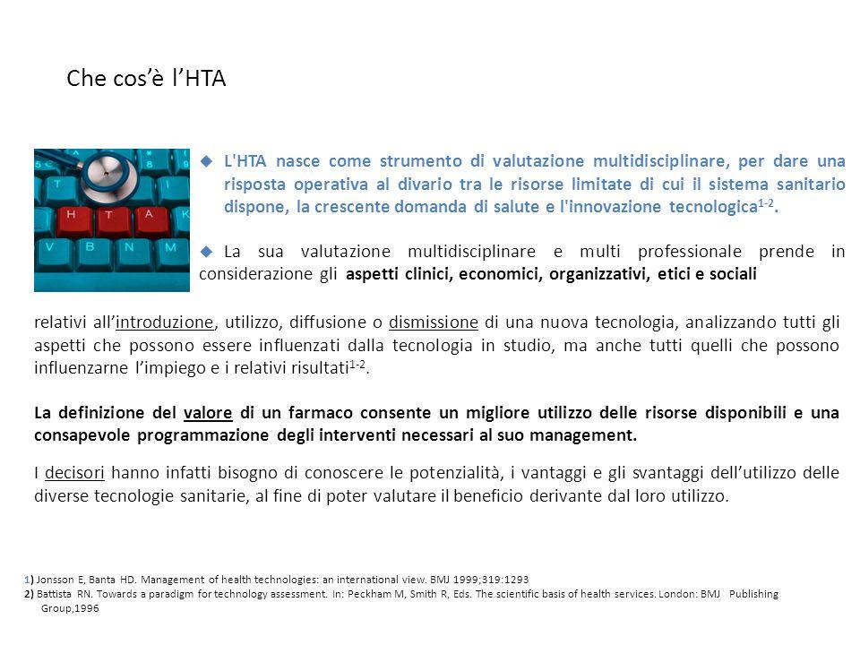 Che cos'è l'HTA  L'HTA nasce come strumento di valutazione multidisciplinare, per dare una risposta operativa al divario tra le risorse limitate di c