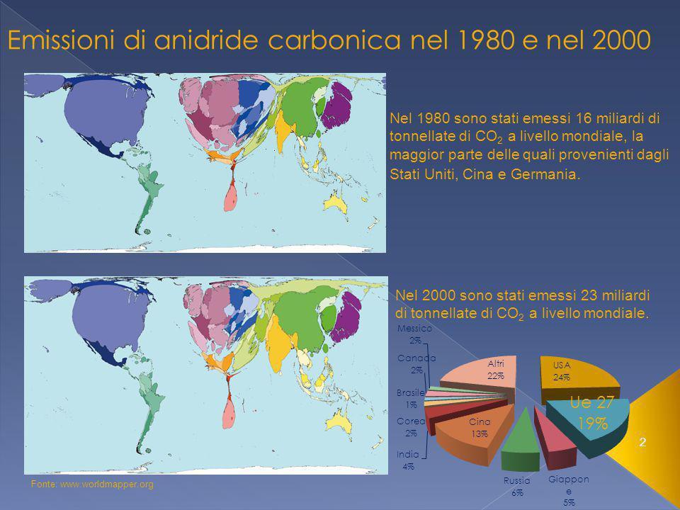3 Stati membri Emissioni di Co 2 nel 2000 (milioni di tonn) Belgio 144,5 Danimarca 59,7 Germania 907,9 Irlanda 47,1 Grecia 117,5 Spagna 335,1 Francia 426,2 Italia 475,9 Lussemburgo 10 Olanda 222,1 Austria 67,6 Portogallo 67,1 Finlandia 60,1 Svezia 60,1 Regno unito 582,9 Totale EU 153583,8 Emissioni di biossido di carbonio nel 2000 Fonte: Agenzia Europea dell'ambiente, 2008