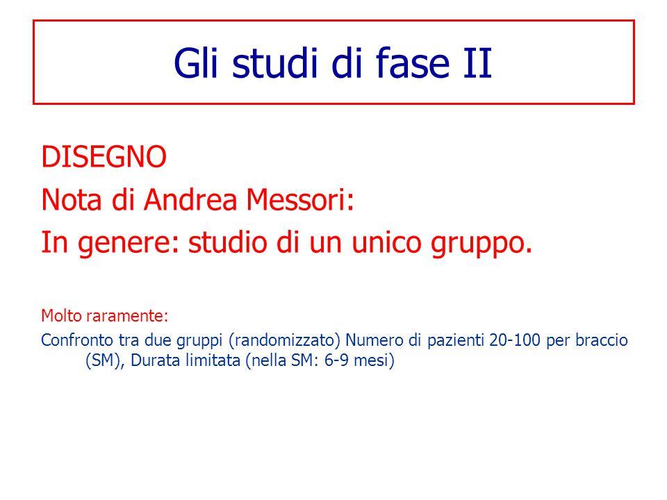 Gli studi di fase II DISEGNO Nota di Andrea Messori: In genere: studio di un unico gruppo. Molto raramente: Confronto tra due gruppi (randomizzato) Nu