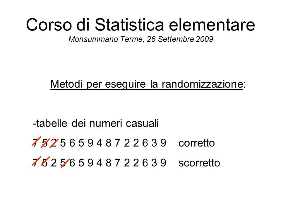 Corso di Statistica elementare Monsummano Terme, 26 Settembre 2009 Metodi per eseguire la randomizzazione: -tabelle dei numeri casuali 7 5 2 5 6 5 9 4