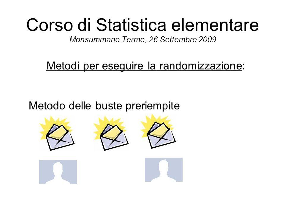 Corso di Statistica elementare Monsummano Terme, 26 Settembre 2009 Metodi per eseguire la randomizzazione: Metodo delle buste preriempite