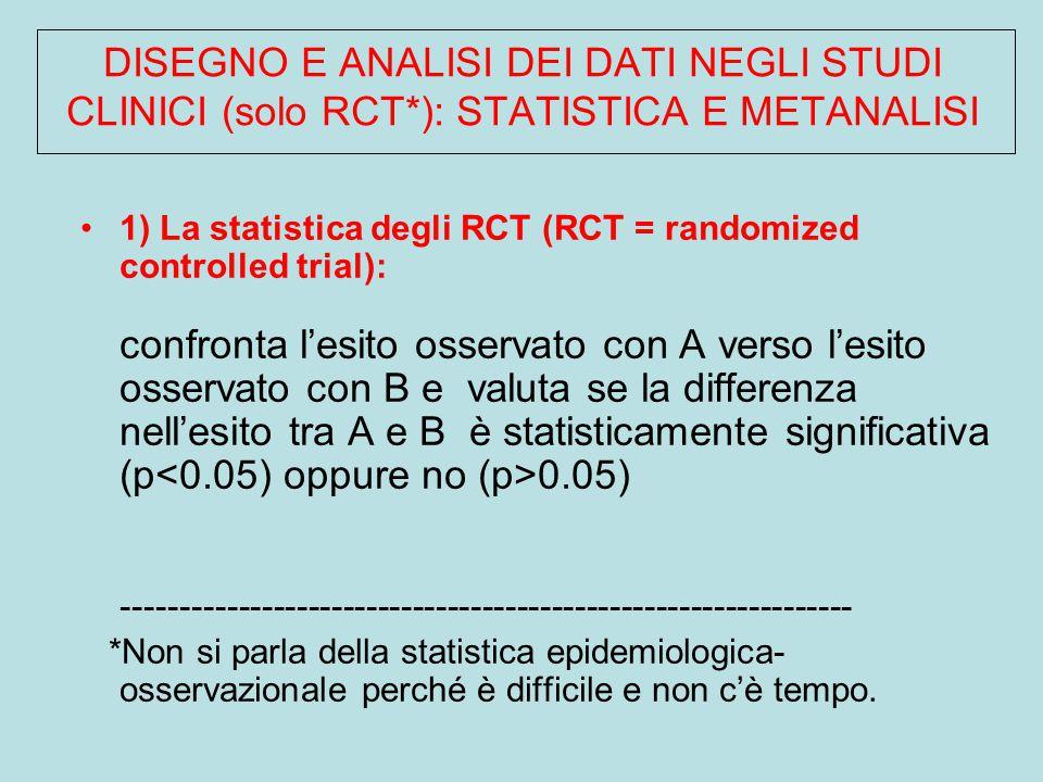 DISEGNO E ANALISI DEI DATI NEGLI STUDI CLINICI (solo RCT*): STATISTICA E METANALISI 1) La statistica degli RCT (RCT = randomized controlled trial): confronta l'esito osservato con A verso l'esito osservato con B e valuta se la differenza nell'esito tra A e B è statisticamente significativa (p 0.05) --------------------------------------------------------------- *Non si parla della statistica epidemiologica- osservazionale perché è difficile e non c'è tempo.