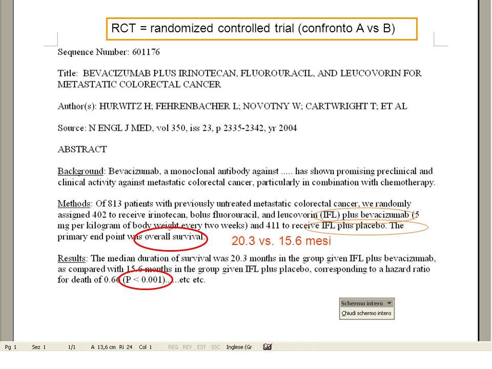 RCT = randomized controlled trial (confronto A vs B) 20.3 vs. 15.6 mesi