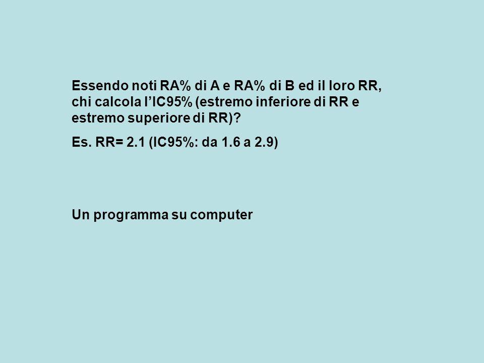 Essendo noti RA% di A e RA% di B ed il loro RR, chi calcola l'IC95% (estremo inferiore di RR e estremo superiore di RR)? Es. RR= 2.1 (IC95%: da 1.6 a