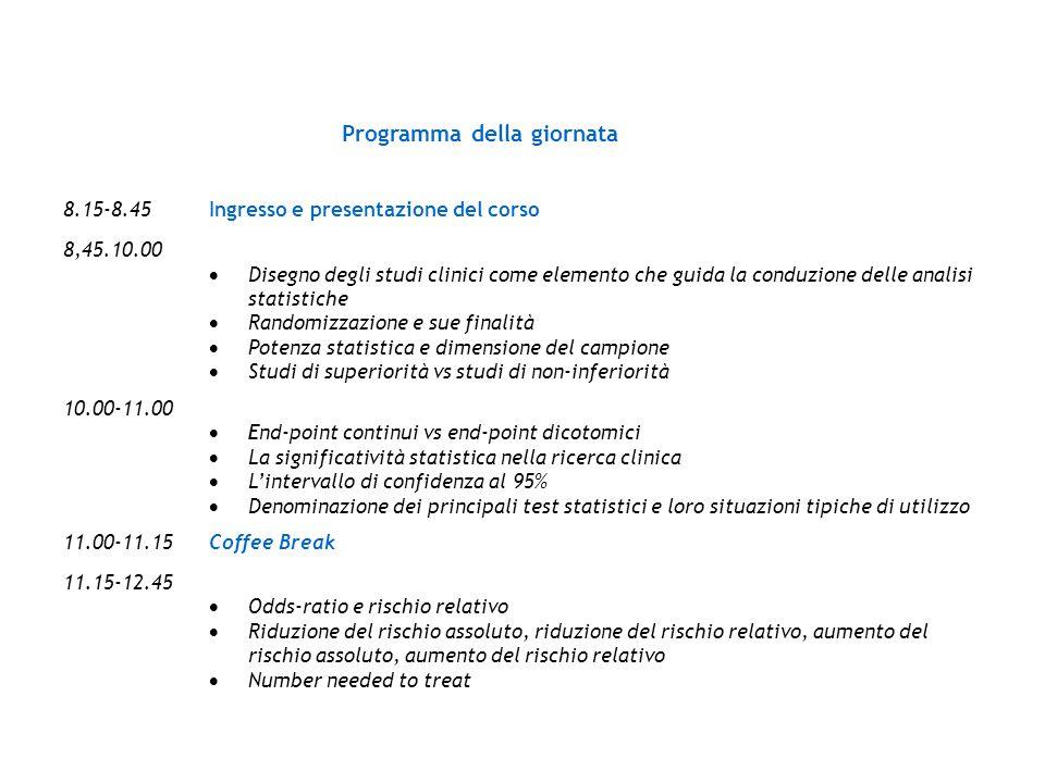 Programma della giornata 8.15-8.45Ingresso e presentazione del corso 8,45.10.00  Disegno degli studi clinici come elemento che guida la conduzione de