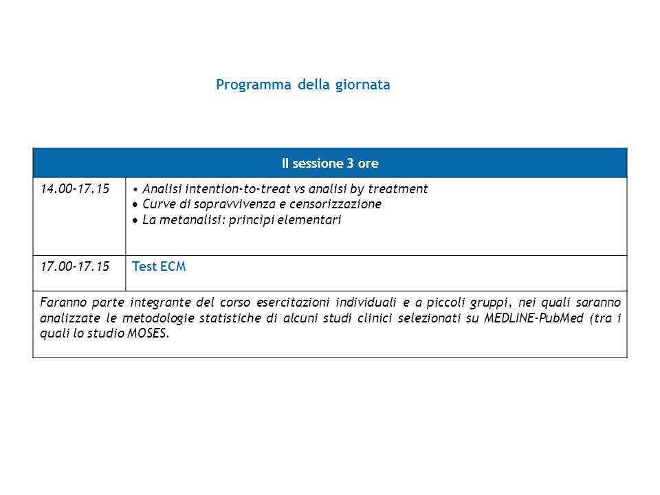 Programma della giornata II sessione 3 ore 14.00-17.15 Analisi intention-to-treat vs analisi by treatment  Curve di sopravvivenza e censorizzazione 