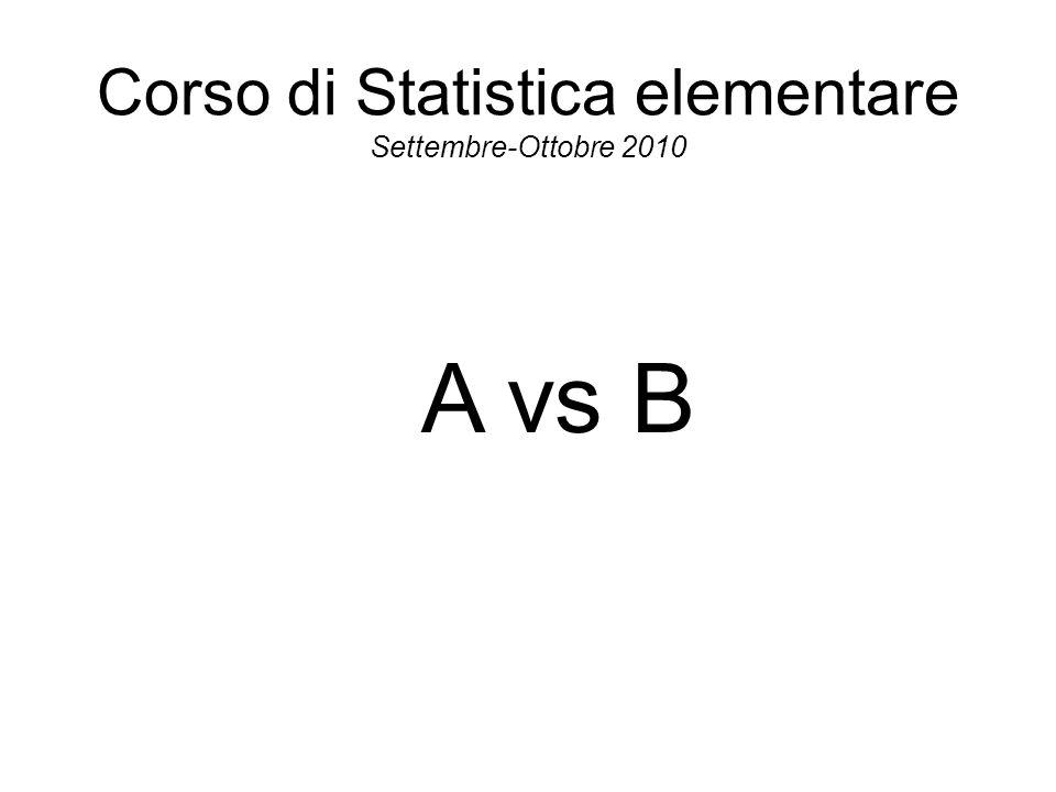 Corso di Statistica elementare Settembre-Ottobre 2010 A vs B