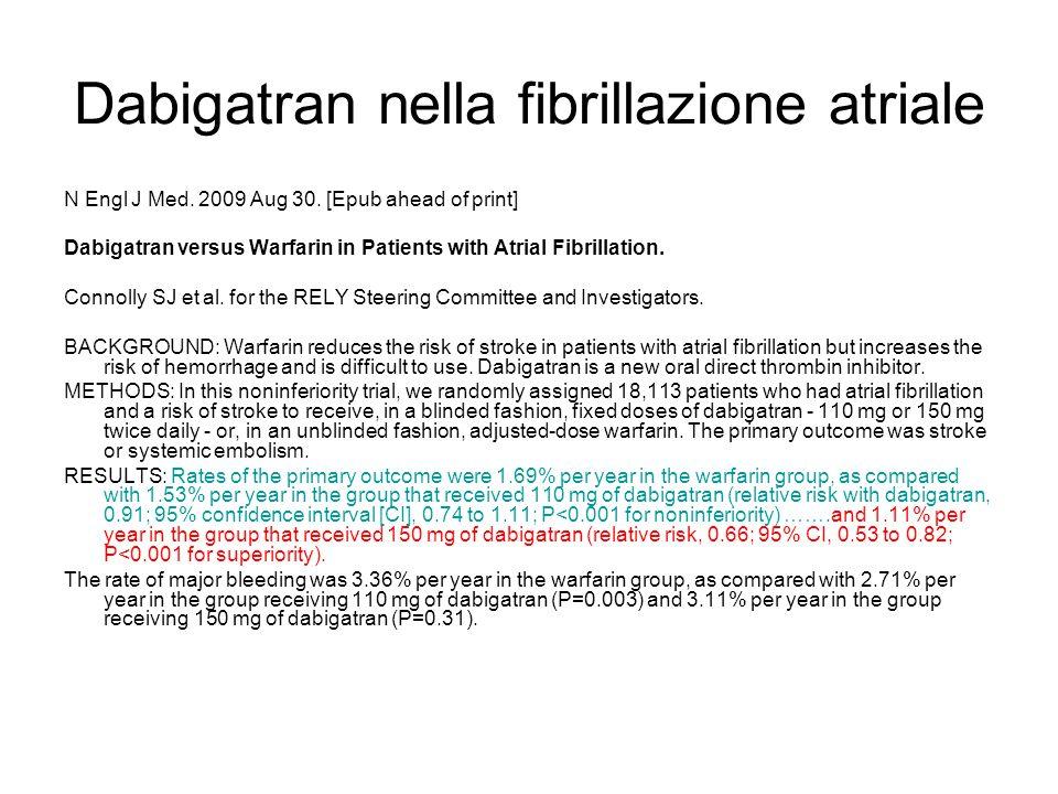 Dabigatran nella fibrillazione atriale N Engl J Med. 2009 Aug 30. [Epub ahead of print] Dabigatran versus Warfarin in Patients with Atrial Fibrillatio
