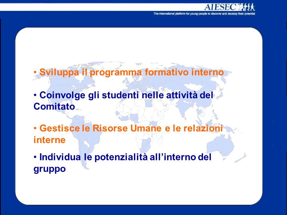 Gestisce le Risorse Umane e le relazioni interne Coinvolge gli studenti nelle attività del Comitato Sviluppa il programma formativo interno Individua le potenzialità all'interno del gruppo